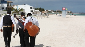 Mariachis on the beach. Puerto Morelos 2010